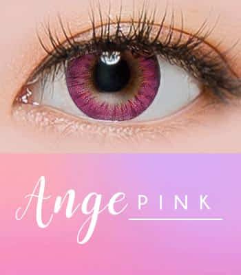 ANGE ピンク[直径 : 14.2mm 着色:13.7mm] お人形のようなデカ目カラコンPINK (度あり度なし~-10.00まで)