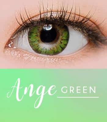 ANGE グリーン[直径 : 14.2mm 着色:13.7mm] お人形のようなデカ目カラコンGREEN (度あり度なし~-10.00まで)