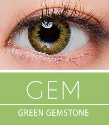 【生産終了予定品! お早めに!】[超高コスパ1ヶ月レンズ]ジェムグリーン カラコン[着色直径:13.0mm】シリコーンハイドロゲル*高級発色Gem Green