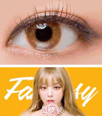 [クレイジー発色3ヶ月レンズ]ファンタジーeyeハニー カラコン[着色直径:14.2mm】UVカット*幽玄発色*自然ハーフ*最高品質!ラッキーアイコン限定!フチなしFantasy Eye Honey