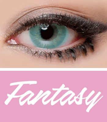 [クレイジー発色3ヶ月レンズ]ファンタジーeyeアクア カラコン[着色直径:14.2mm】UVカット*君に夢中*リアルハーフ*最高品質!ラッキーアイコン限定!フチなしFantasy Eye Aqua
