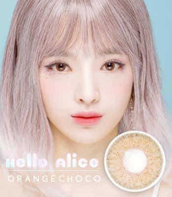 [NEW 50% OFF]ナチュラルハーフHELLO ALICE OrangeChoco チョコカラコン[DIA : 14.2mm 着色直径:13.8mm]