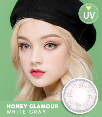 [UVカット]カラコン·ハニーグラマーホワイトグレー★最高品質★高発色 ハーフ [直径 : 14.2mm 着色:13.2mm]度あり度なしHoney Glamour White gray