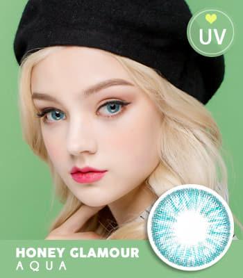 [UVカット]カラコンHoney Glamourアクアブルー★最高品質★高発色 ハーフ [直径 : 14.2mm 着色:13.2mm]度あり度なしAqua Blue