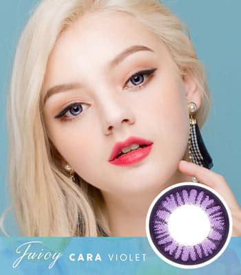 【バイオレットカラコン】ジューシー・カーラ「PREMIUM」高度数 [直径 : 14.0mm 着色:13.3mm]Juicy Cara Violet 高発色