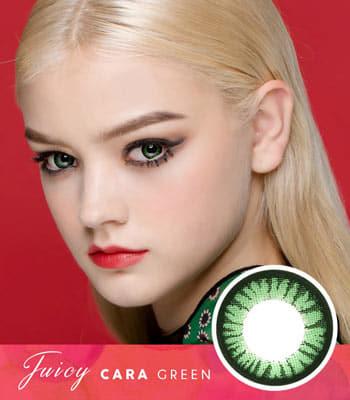 【グリーンカラコン】ジューシー・カーラ「PREMIUM」高度数 [直径 : 14.0mm 着色:13.3mm]Juicy Cara Green 高発色