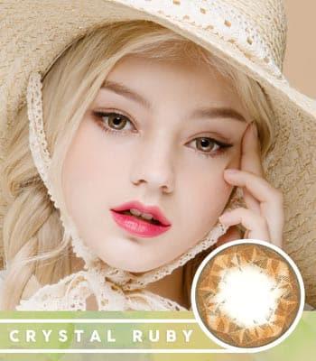 【乱視用カラコン2枚】クリスタル・ルビー・ブラウン★BC 選択可能★含水率 42% [直径 : 14.0mm 着色:13.7mm BC : 8.2/8.4/8.6] Crystal Ruby Queen Brown