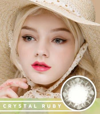 【乱視用カラコン2枚】クリスタル・ルビー・グレー★BC 選択可能★含水率 42% [直径 : 14.0mm 着色:13.7mm BC : 8.2/8.4/8.6] Crystal Ruby Queen Gray
