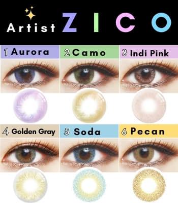 【特価 890円】Artist ZICOカラコンシリーズ6選 「1セット2枚」度あり度なし~-8.00まで|ブラウン・バイオレット・グレー・ブルー・ピンク